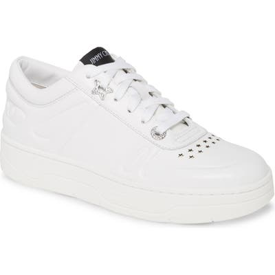 Jimmy Choo Hawaii Leather Lace-Up Sneaker, White