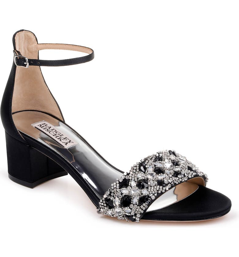 BADGLEY MISCHKA COLLECTION Badgley Mischka Liz Ankle Strap Sandal, Main, color, BLACK SATIN