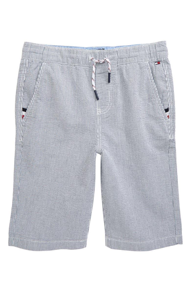TOMMY HILFIGER Seersucker Shorts, Main, color, 100