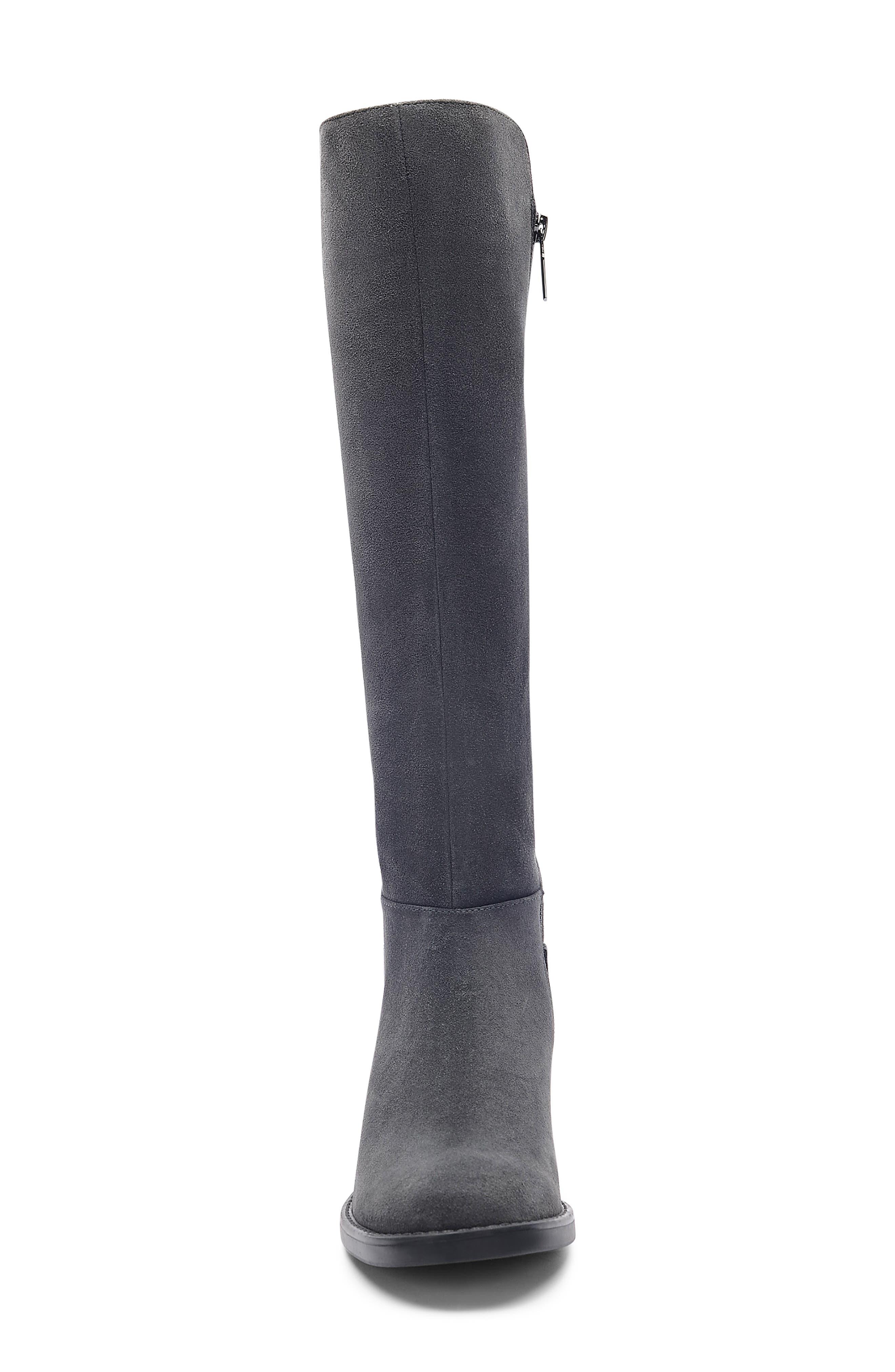 ,                             Ellie Waterproof Knee High Riding Boot,                             Alternate thumbnail 4, color,                             DARK GREY SUEDE