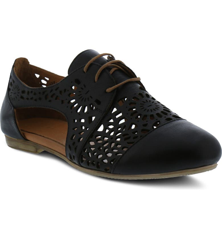 SPRING STEP Theone Cutout Derby Flat, Main, color, BLACK LEATHER