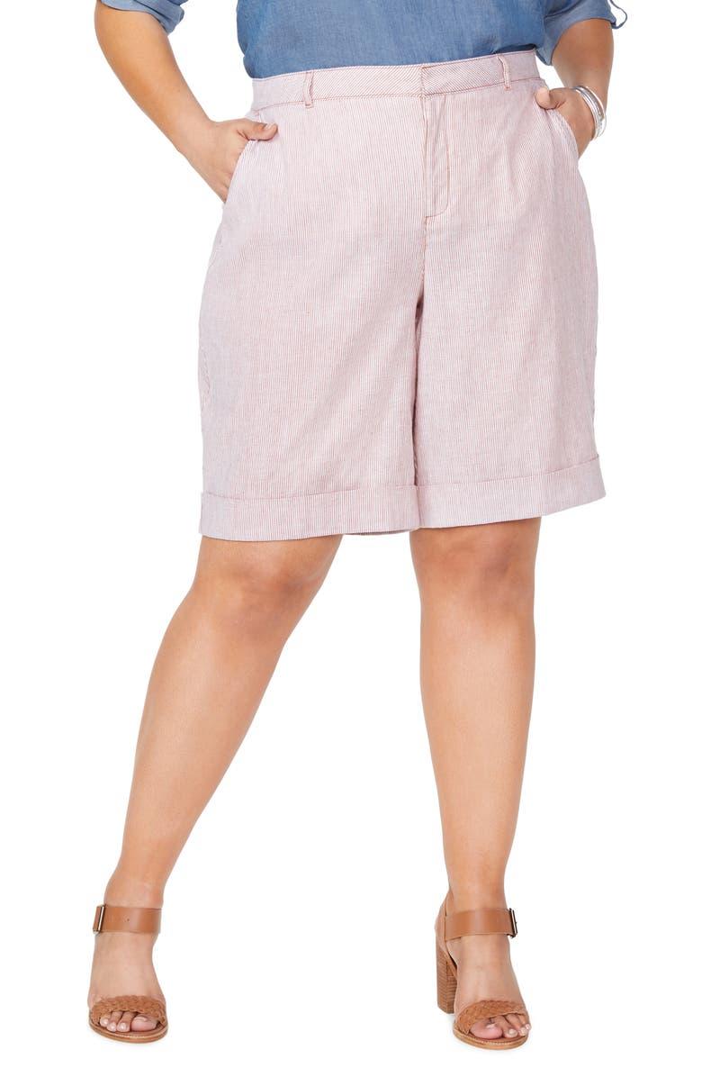 NYDJ Linen & Cotton Bermuda Shorts, Main, color, SAND STRIPE