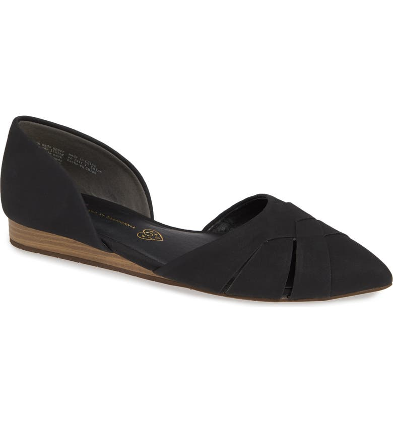 BC FOOTWEAR Focal Point Vegan Pointy Toe Flat, Main, color, BLACK