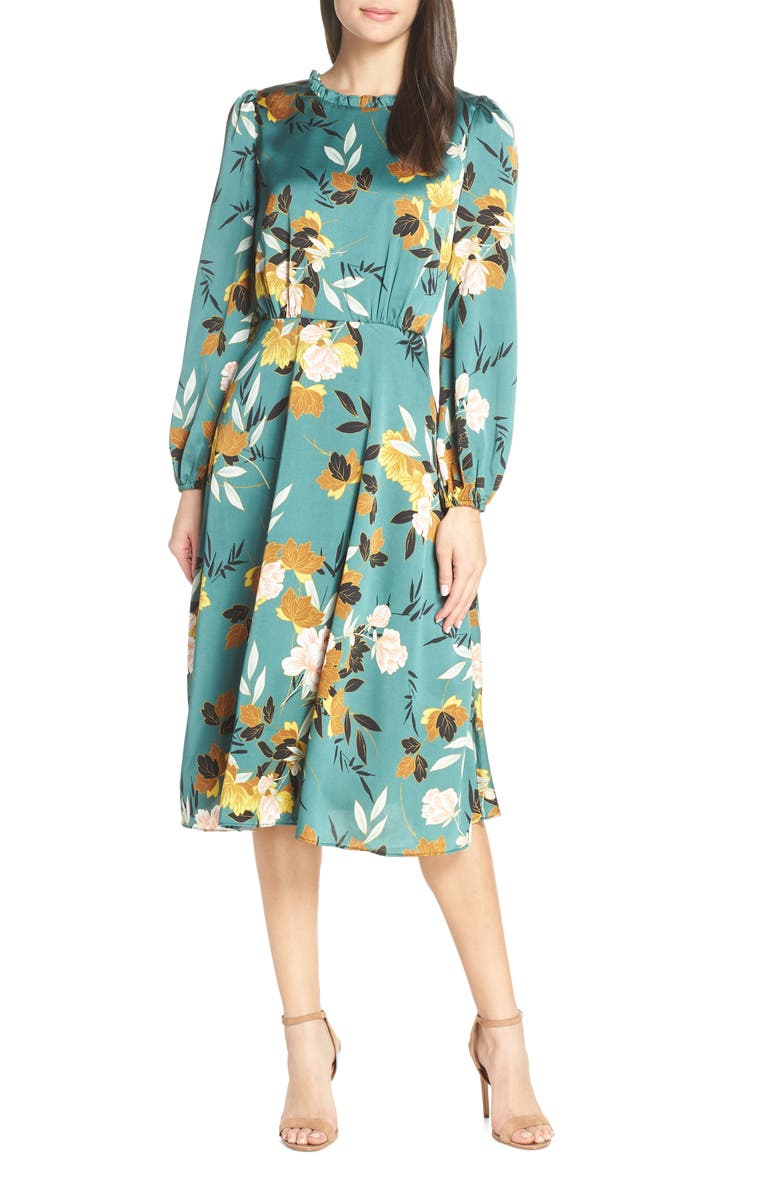 CHELSEA28 Floral Print Long Sleeve Ruffle Neck Dress, Main, color, GREEN FLORAL