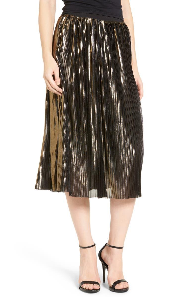 TROUVÉ Shine Pleat Midi Skirt, Main, color, 710