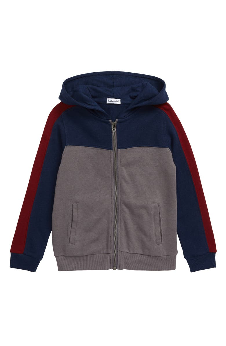 SPLENDID Colorblock Full Zip Hoodie, Main, color, SMOKED PEARL
