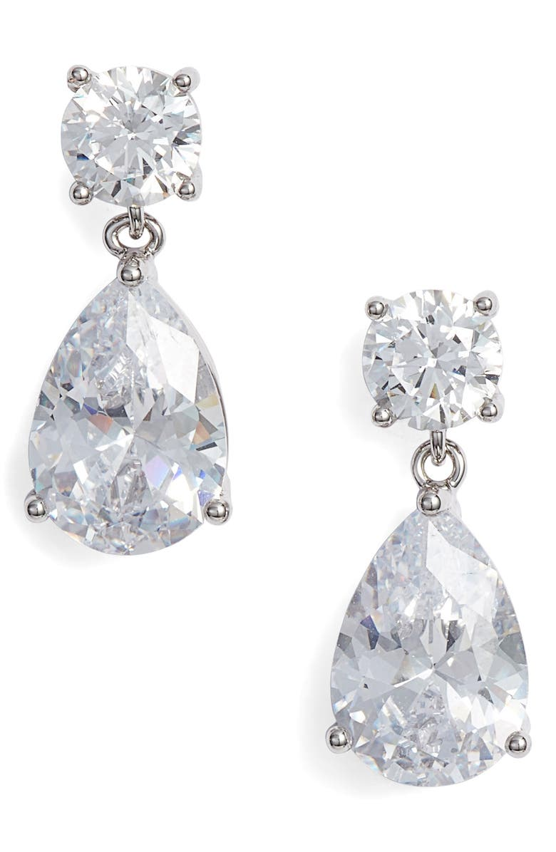 NORDSTROM Cubic Zirconia Teardrop Earrings, Main, color, CLEAR- SILVER