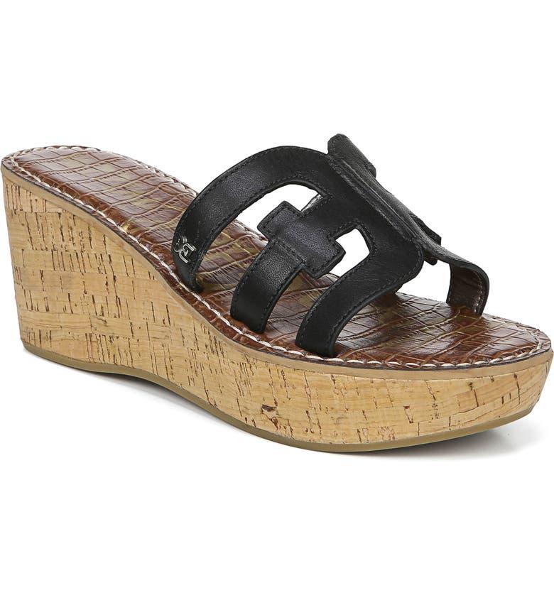 SAM EDELMAN Regis Platform Wedge Slide Sandal, Main, color, BLACK LEATHER