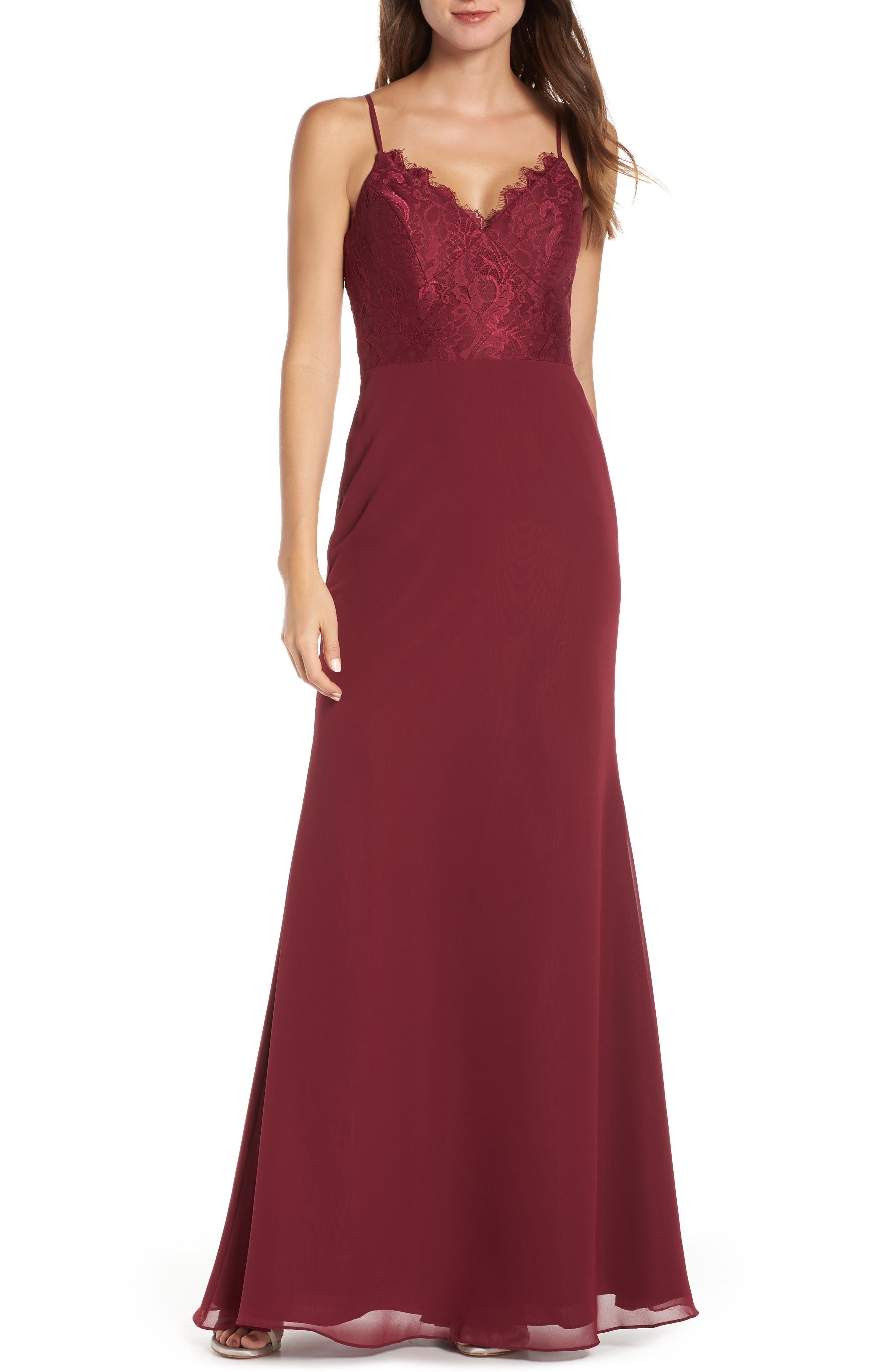 Hayley Paige Occasions Sleeveless Rose Lace & Chiffon Evening Dress, Burgundy