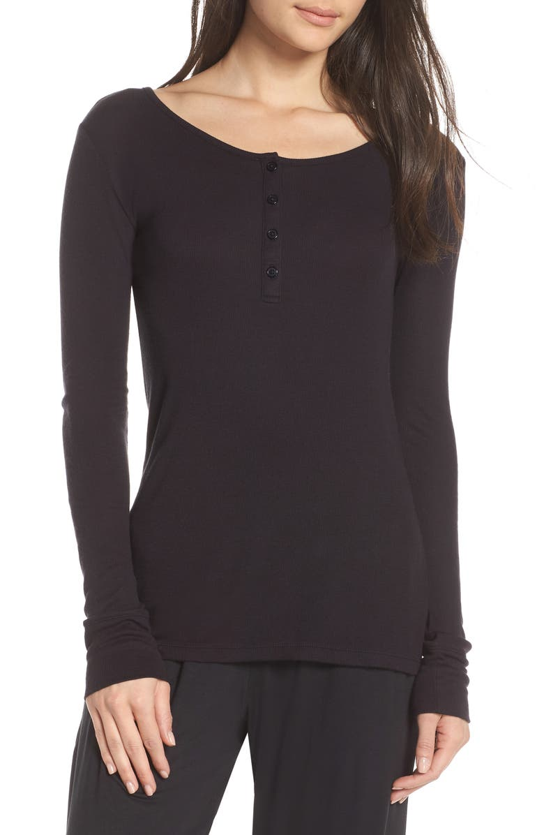 TOMMY JOHN Lounge Henley Tee, Main, color, BLACK