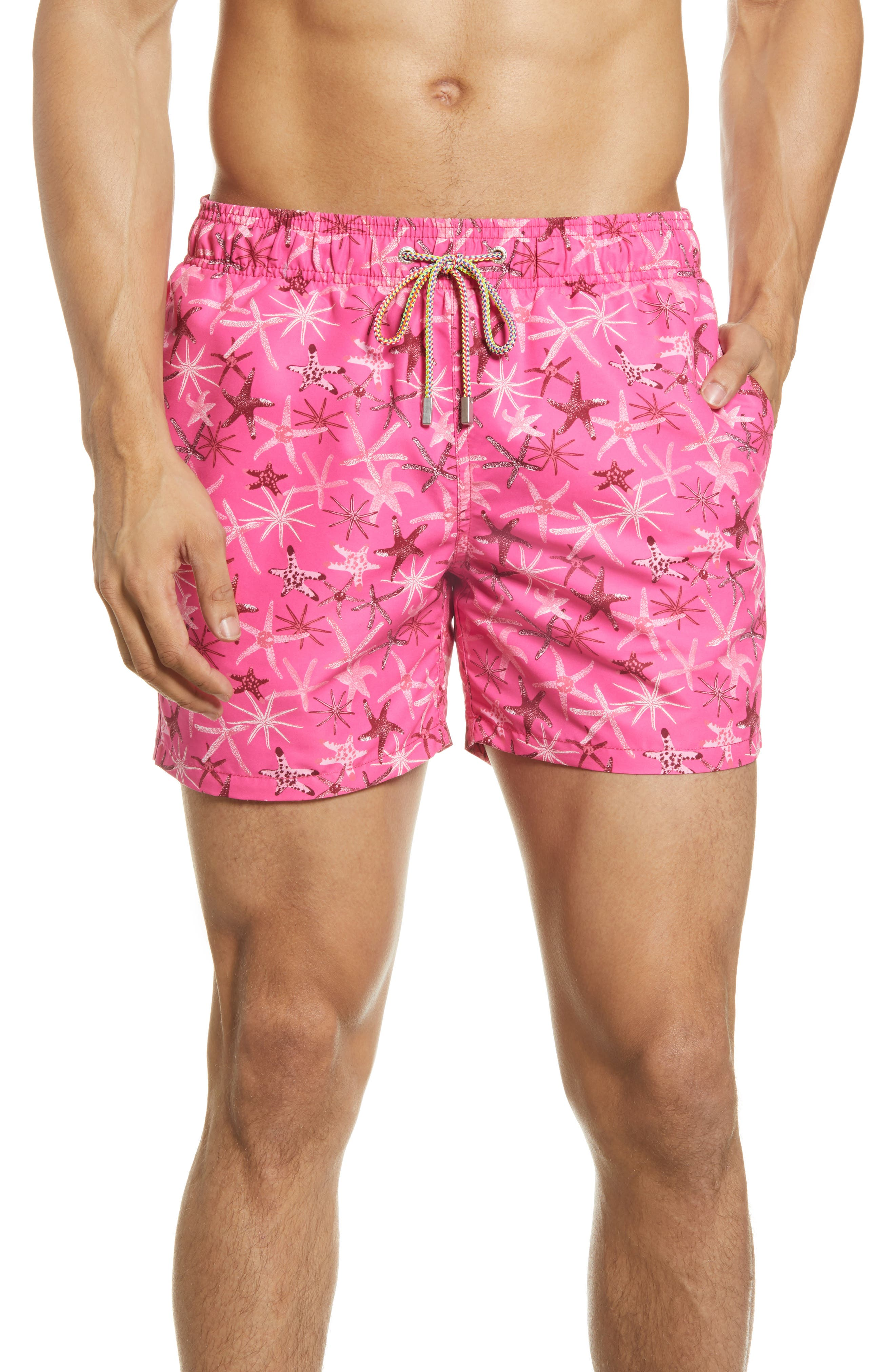 Starfish splash in bright colors across swim trunks cut from lightweight, quick-drying nylon that offers comfort in and out of the water. Style Name: Bugatchi Starfish Nylon Swim Trunks. Style Number: 6039653. Available in stores.