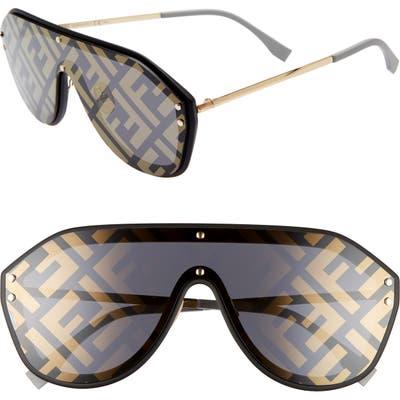 Fendi 147mm Logo Lens Shield Sunglasses - Black/ Gold