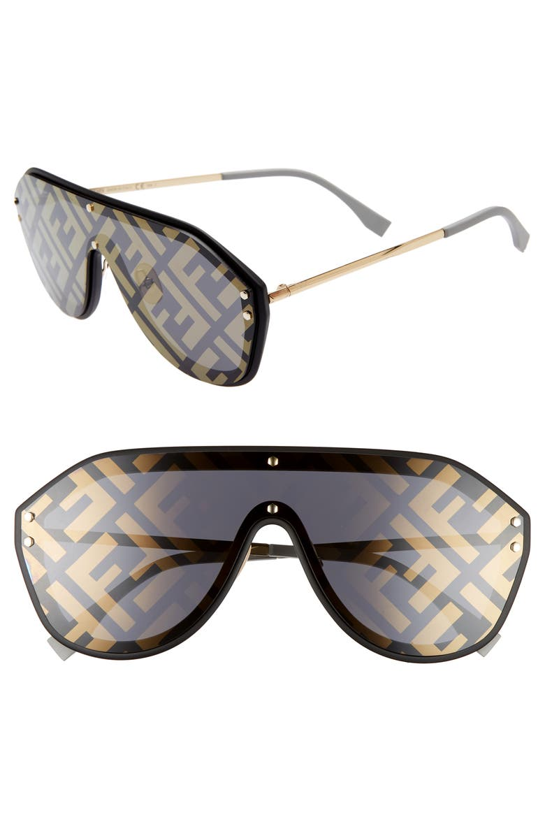 FENDI 147mm Logo Lens Shield Sunglasses, Main, color, BLACK/ GOLD