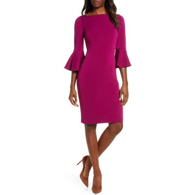Harper Rose Bell Sleeve Bateau Neck Sheath Dress, Pink