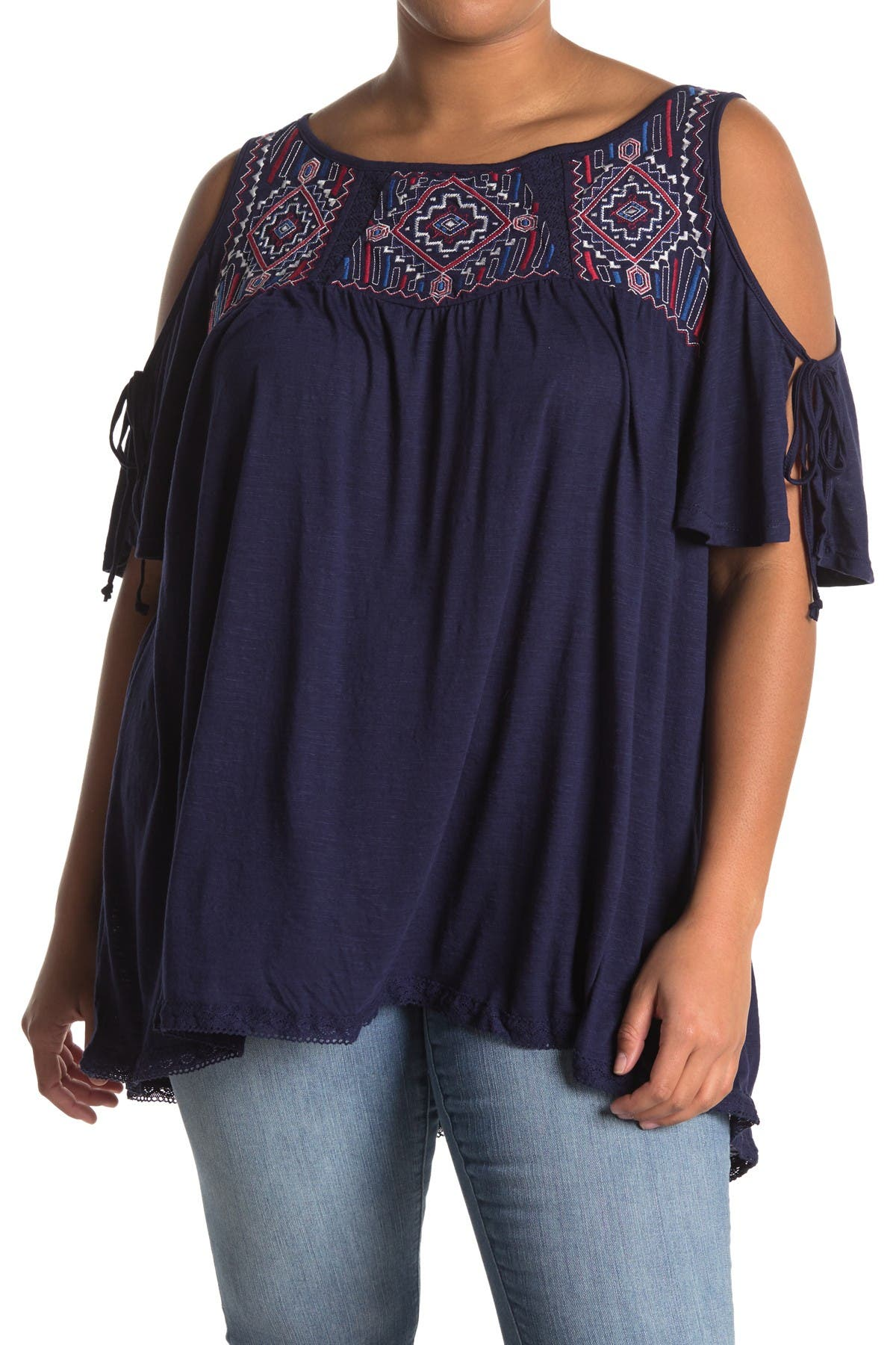 Image of 14TH PLACE Embroidered Cold Shoulder Top