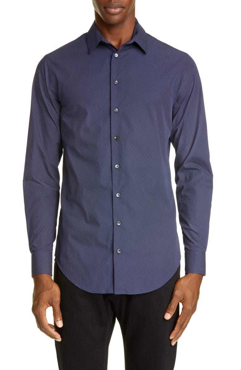 GIORGIO ARMANI Dot Diamond Classic Fit Button-Up Shirt, Main, color, 404