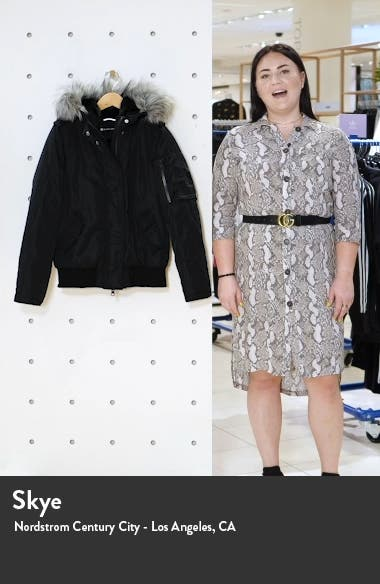 Flight Hooded Bomber Jacket with Faux Fur Trim, sales video thumbnail