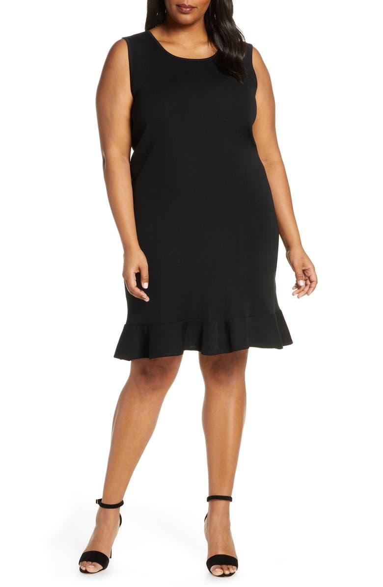 MING WANG Sleeveless Ruffle Hem Sweater Dress, Main, color, 001