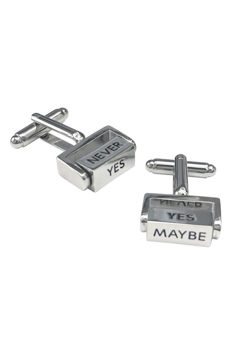 LINK UP Yes No Maybe Cuff Links, Main, color, SILVER