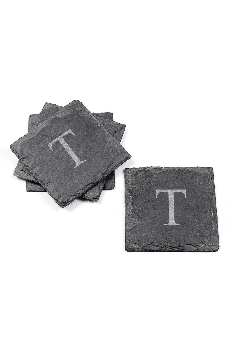 CATHY'S CONCEPTS Monogram Slate Coasters, Main, color, 040