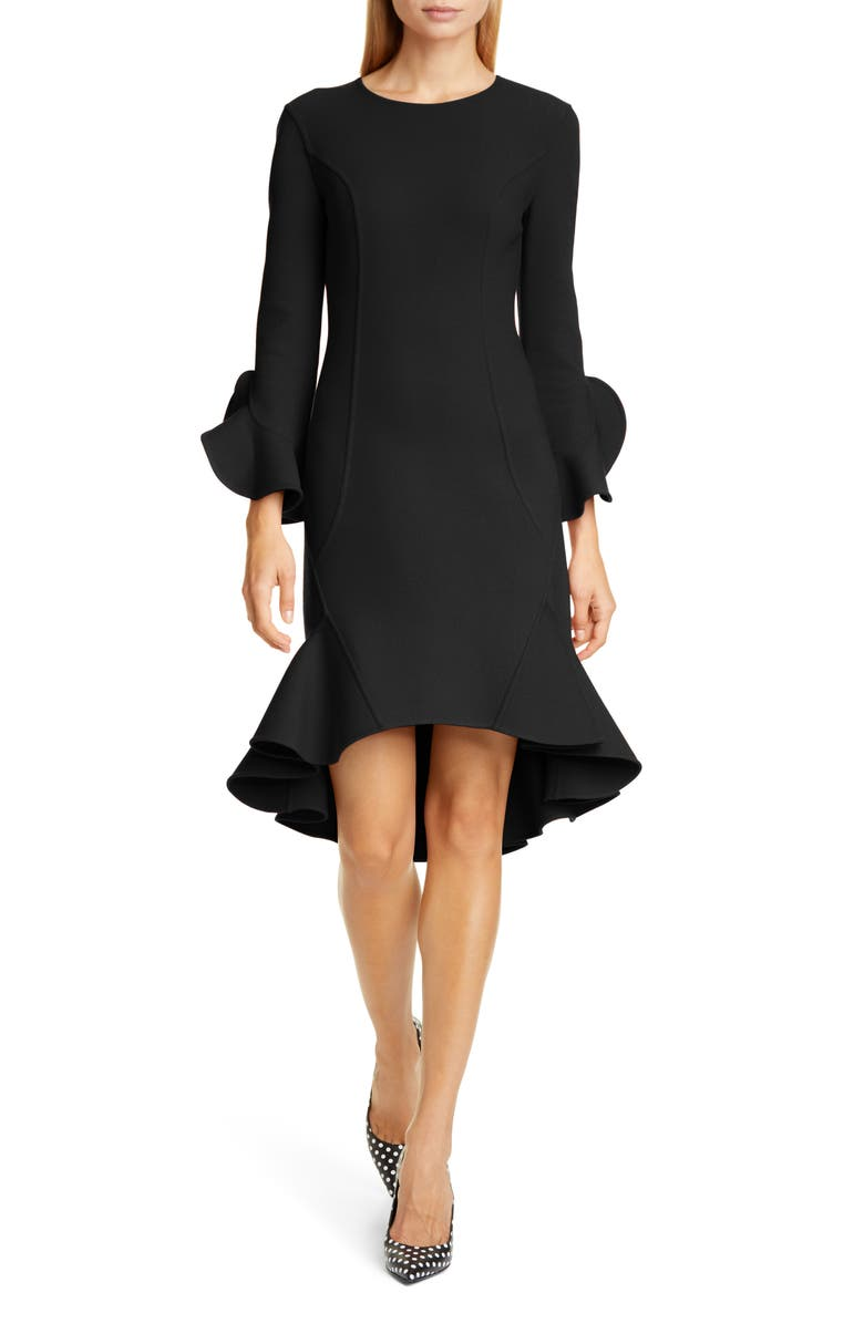 MICHAEL KORS COLLECTION Michael Kors Flounce Sleeve Sheath Dress, Main, color, BLACK