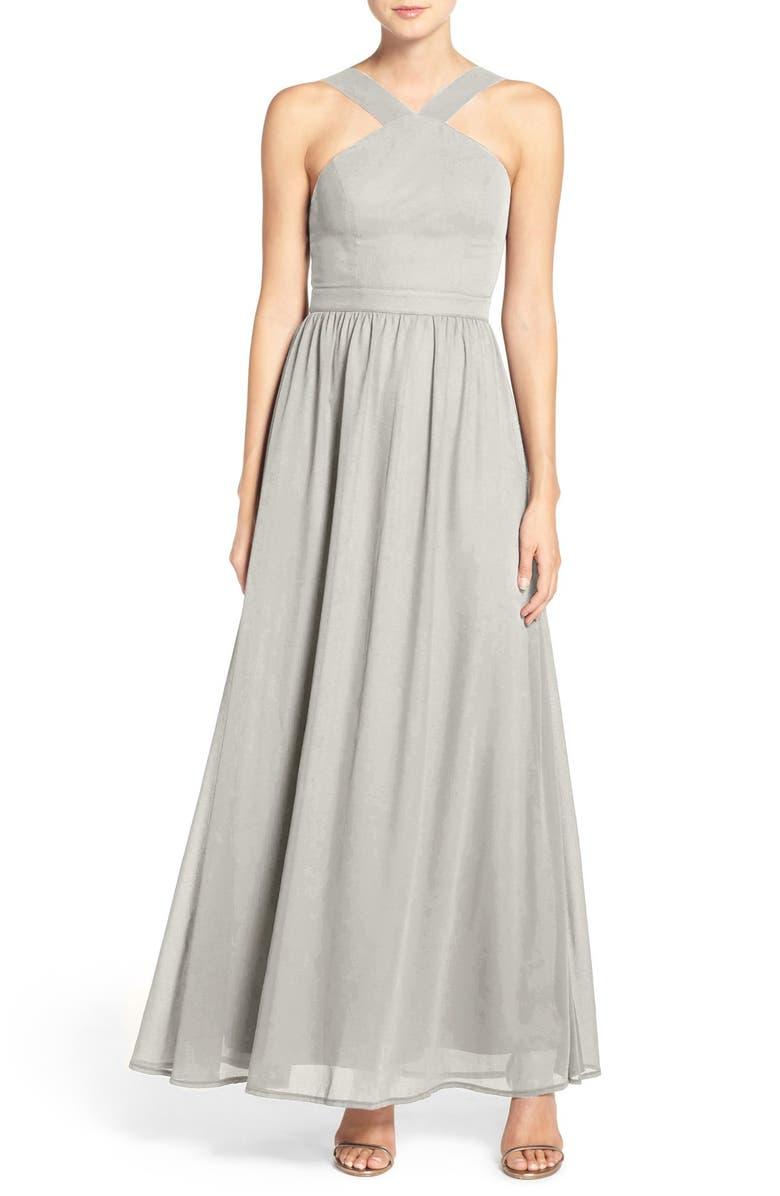 LULUS Cross Neck A-Line Chiffon Gown, Main, color, 020