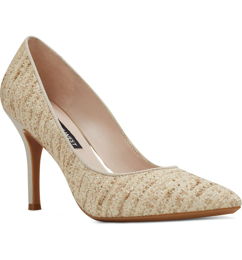 NINE WEST Fifth Pointy Toe Pump, Main, color, NATURAL FABRIC