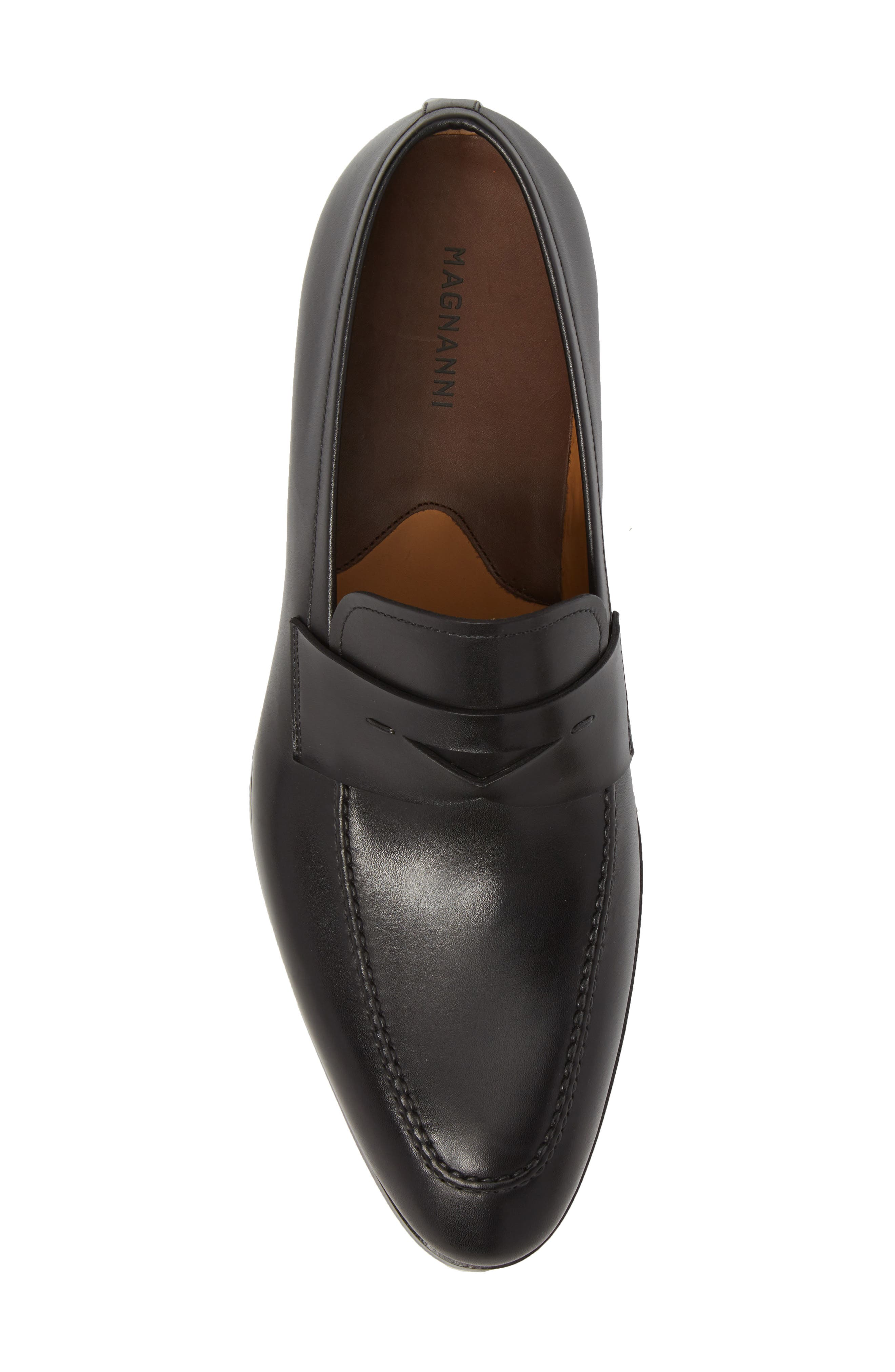 ,                             Rolly Apron Toe Penny Loafer,                             Alternate thumbnail 5, color,                             BLACK LEATHER