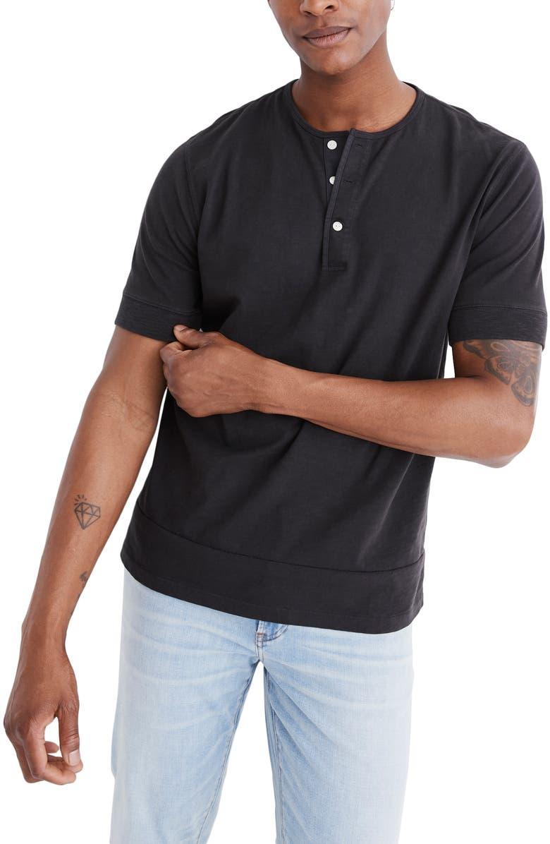 MADEWELL Garment Dye Henley T-Shirt, Main, color, 001