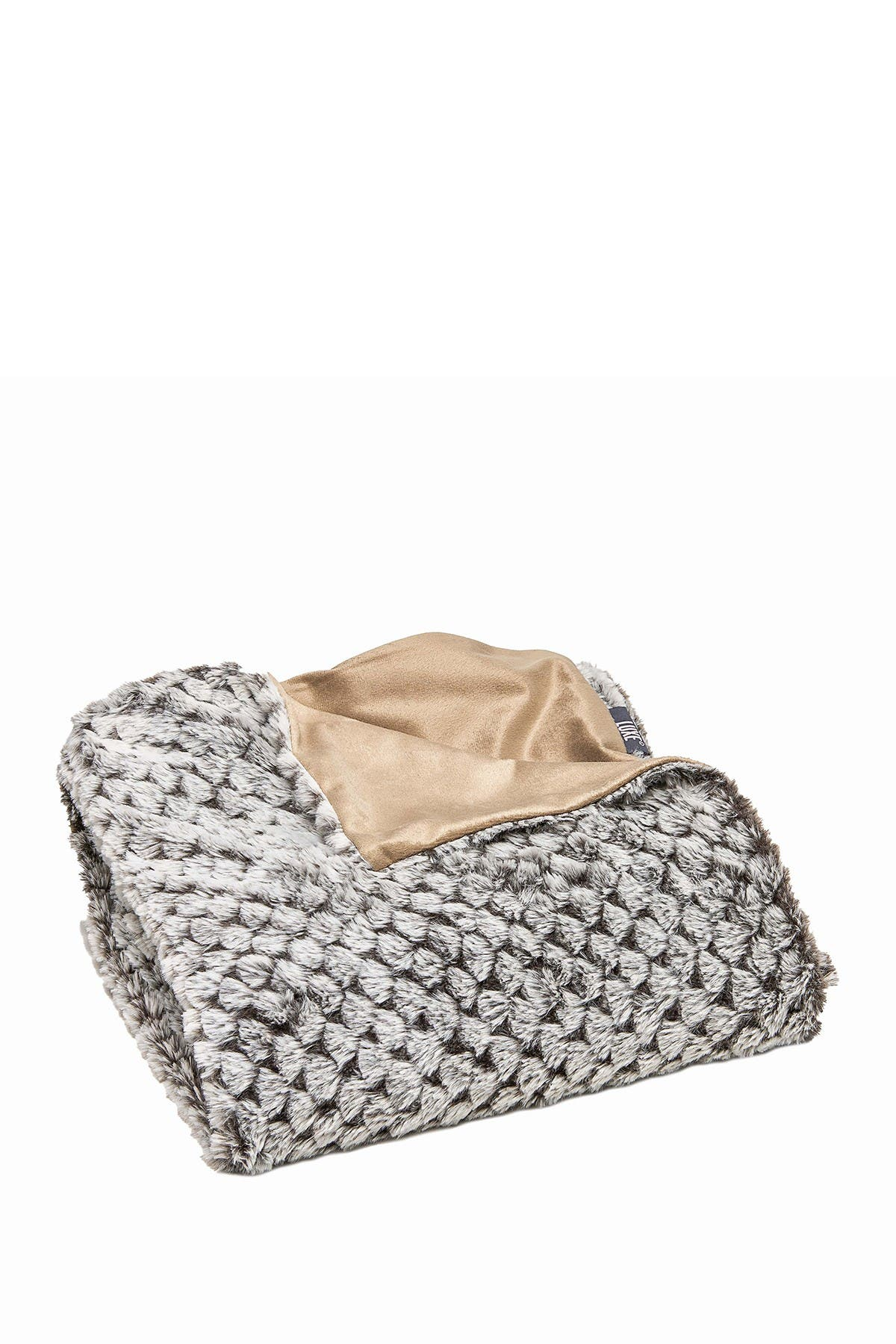 "Image of LUXE Faux Fur Throw - 50"" x 60"" - Chinchilla"