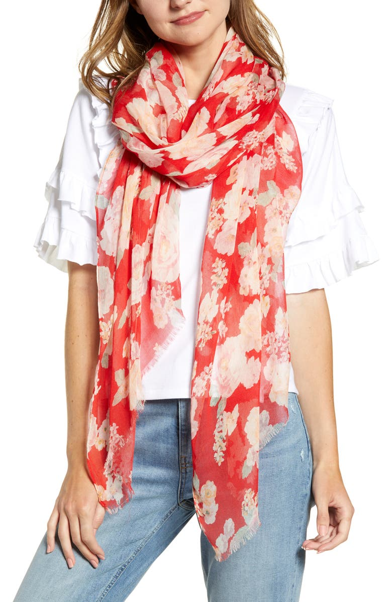 RACHEL PARCELL Floral Modal & Silk Scarf, Main, color, RED RIVIERA FLORAL PRINT