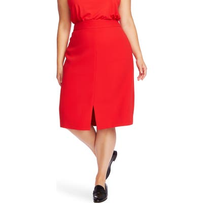 Plus Size Court & Rowe Front Slit Crepe Pencil Skirt, Red