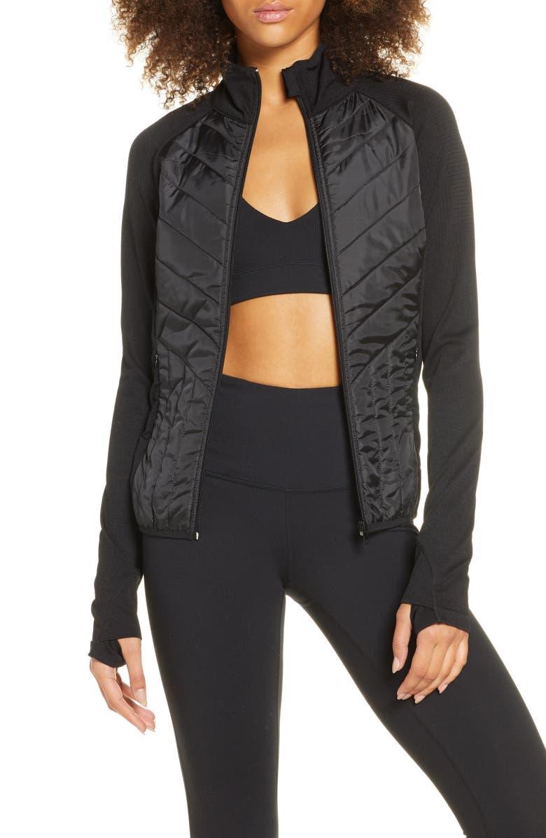 ZELLA Quilted Hybrid Jacket, Main, color, BLACK