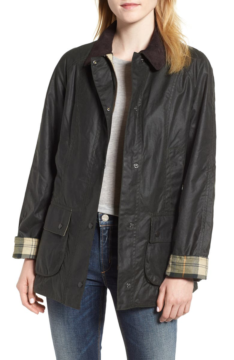 BARBOUR Beadnell Waxed Cotton Jacket, Main, color, OLIVE