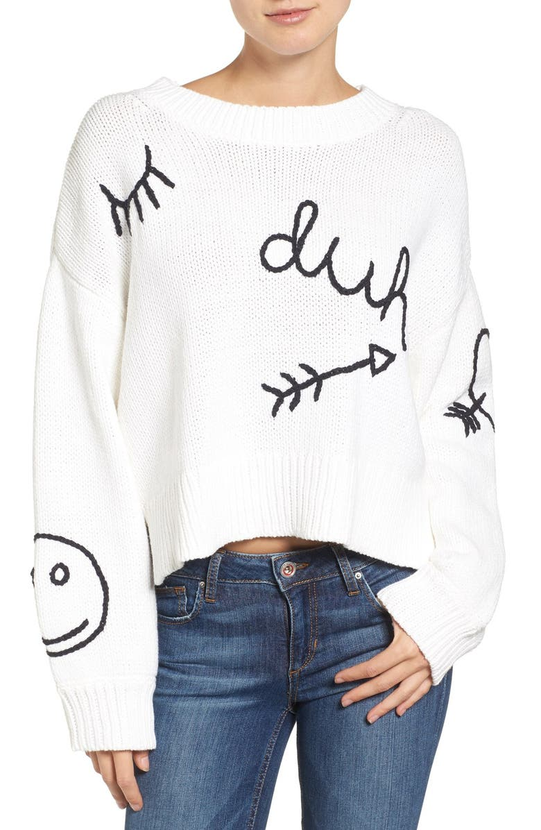 WILDFOX Duh Crewneck Sweater, Main, color, 100