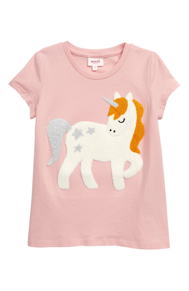 SEED HERITAGE Chenille Unicorn Appliqué T-Shirt, Main, color, DUSTY ROSE