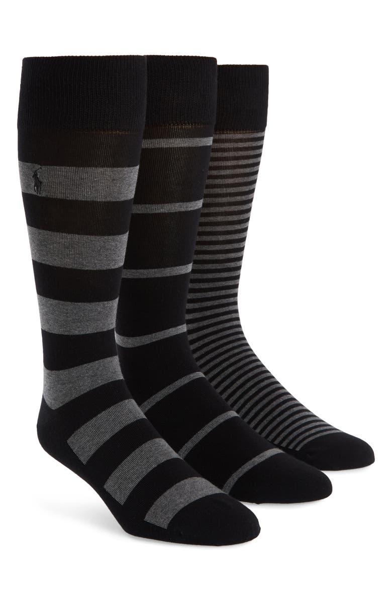 POLO RALPH LAUREN 3-Pack Stripe Socks, Main, color, BLACK