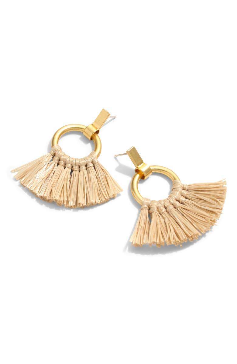 MADEWELL Raffia Tassel Hoop Earrings, Main, color, NATURAL
