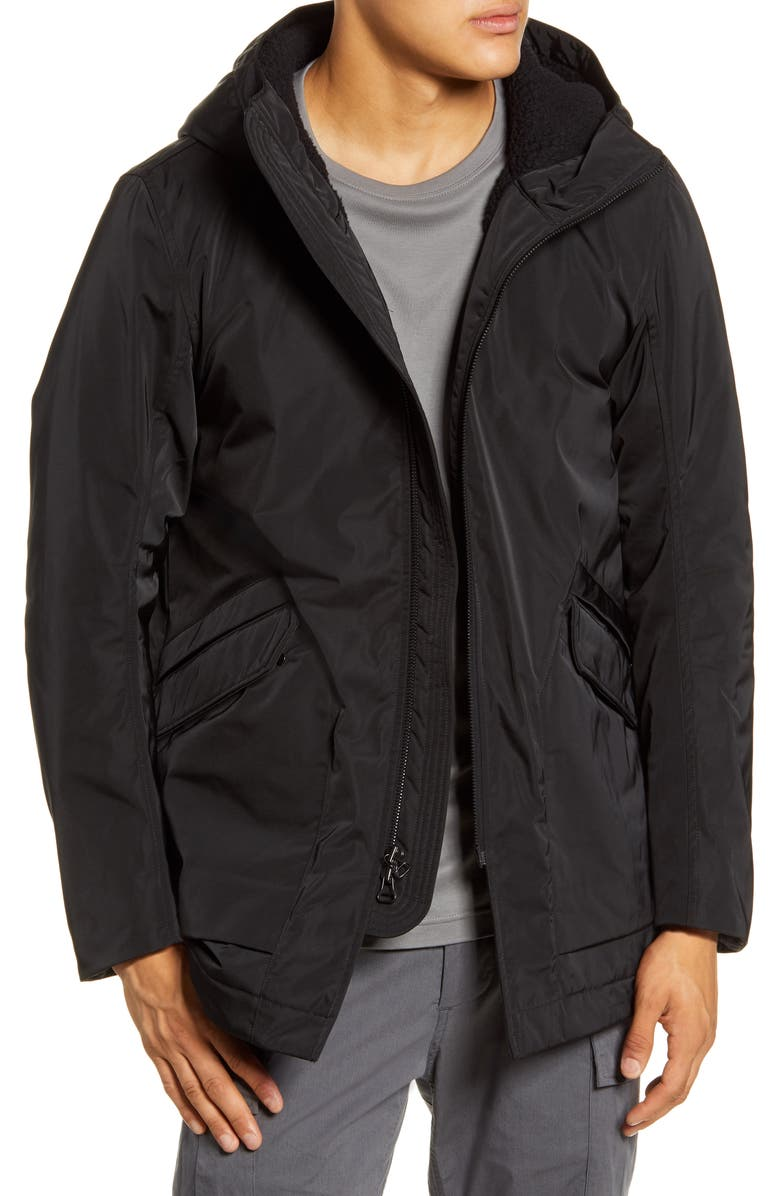 WINGS + HORNS Solo Twill Polartec<sup>®</sup> Lined Hooded Jacket, Main, color, 001