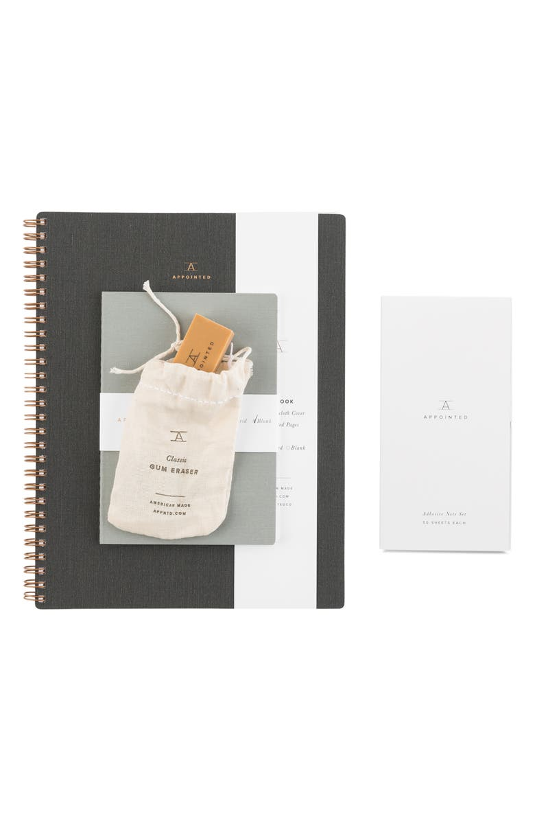 APPOINTED Starter Set Stationery Gift Set, Main, color, CHARCOAL GRAY