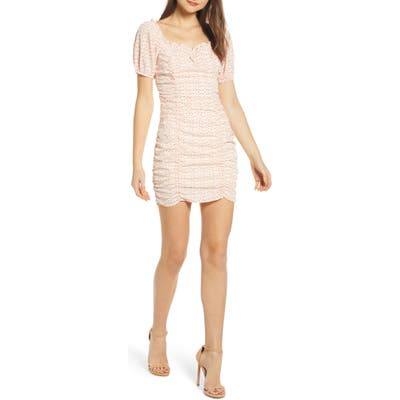 Astr The Label Ruched Minidress, Ivory