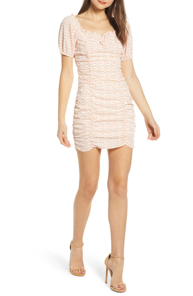 ASTR THE LABEL Ruched Minidress, Main, color, IVORY/ PINK MULTI FLORAL
