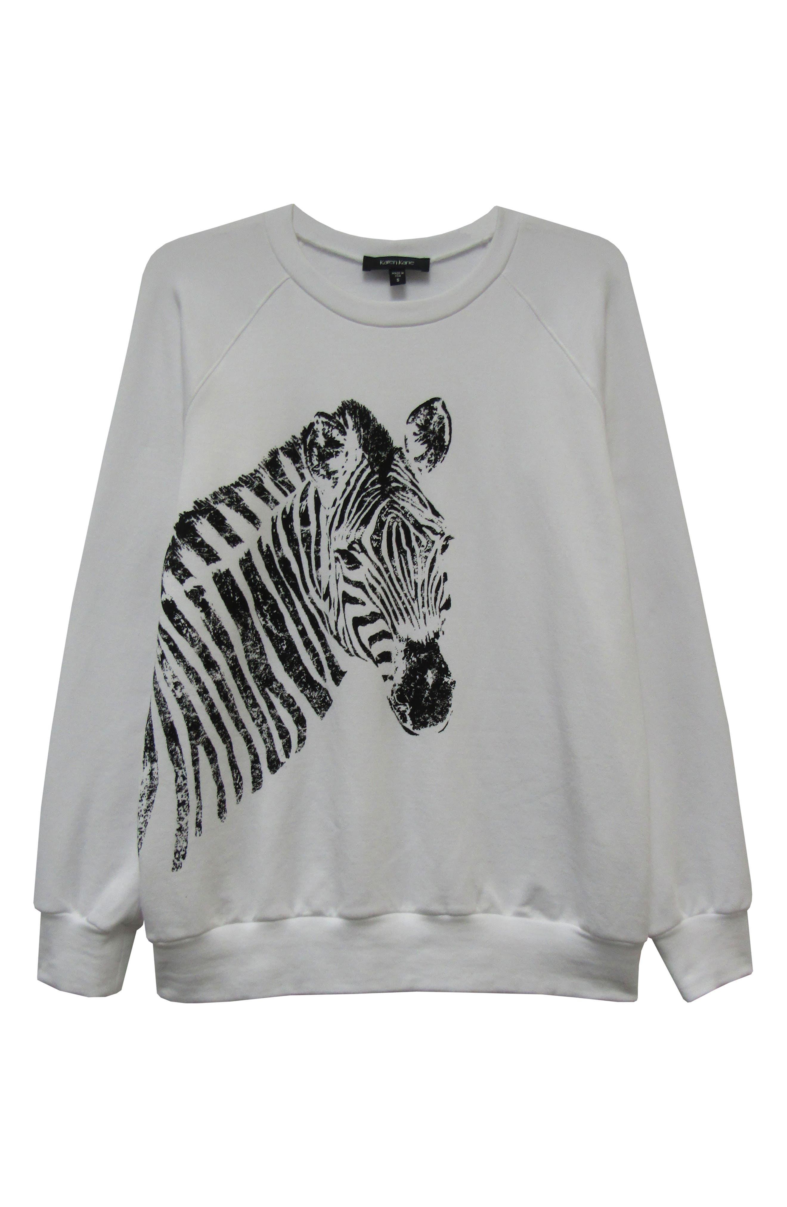 ,                             Zebra Print Sweatshirt,                             Alternate thumbnail 3, color,                             100