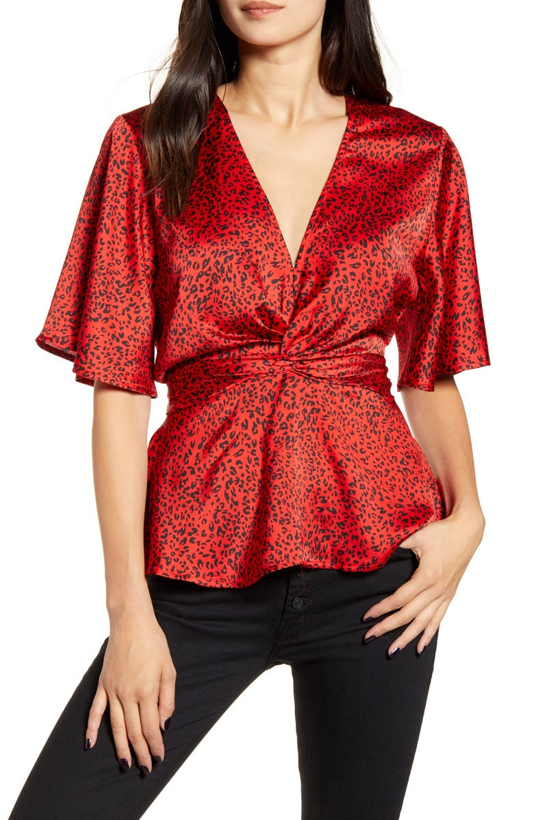 BISHOP + YOUNG Bishop & Young Karlie Leopard Print Satin Crepe Peplum Blouse, Main, color, 600