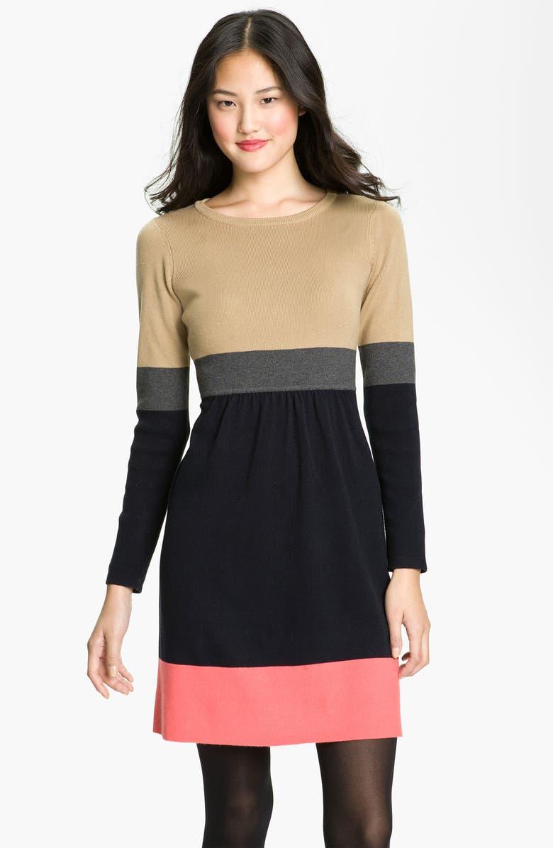 ELIZA J Colorblock Fit & Flare Sweater Dress, Main, color, 400
