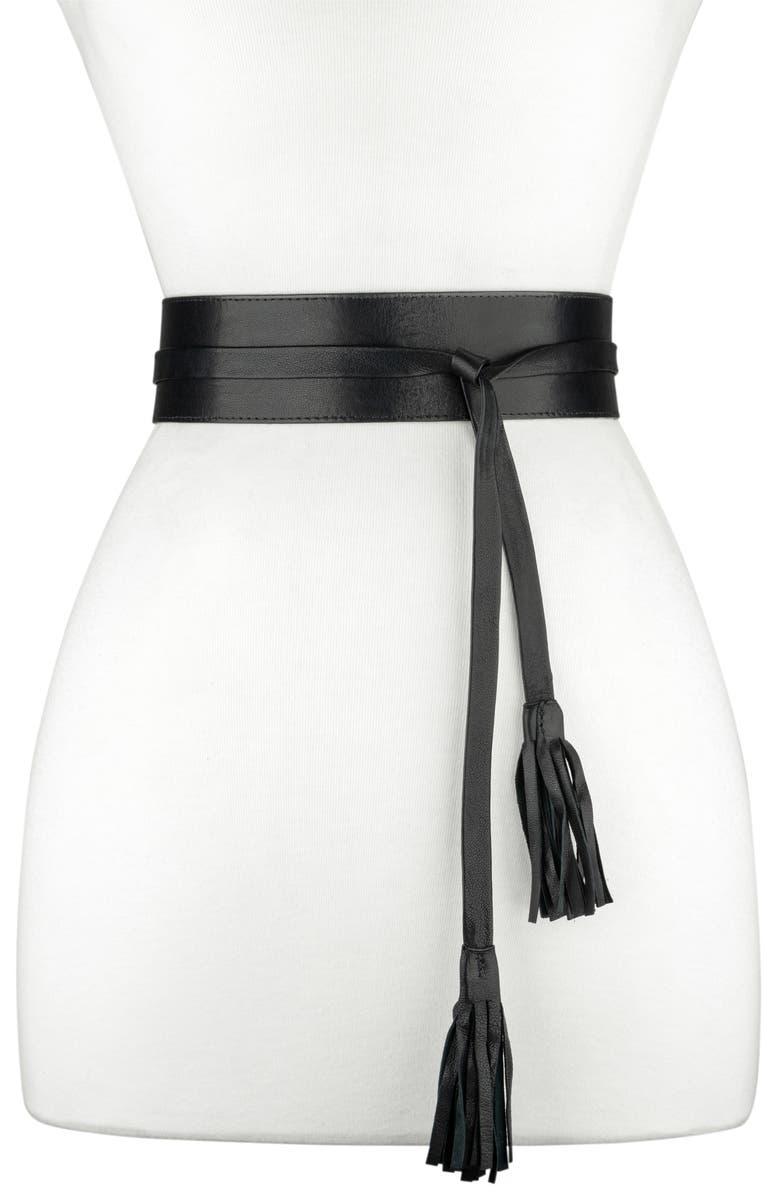 RAINA Bronco Leather Wrap Belt, Main, color, BLACK