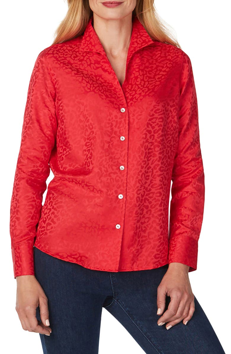 FOXCROFT Gracey Wrinkle-Free Animal Jacquard Shirt, Main, color, HOLLY BERRY