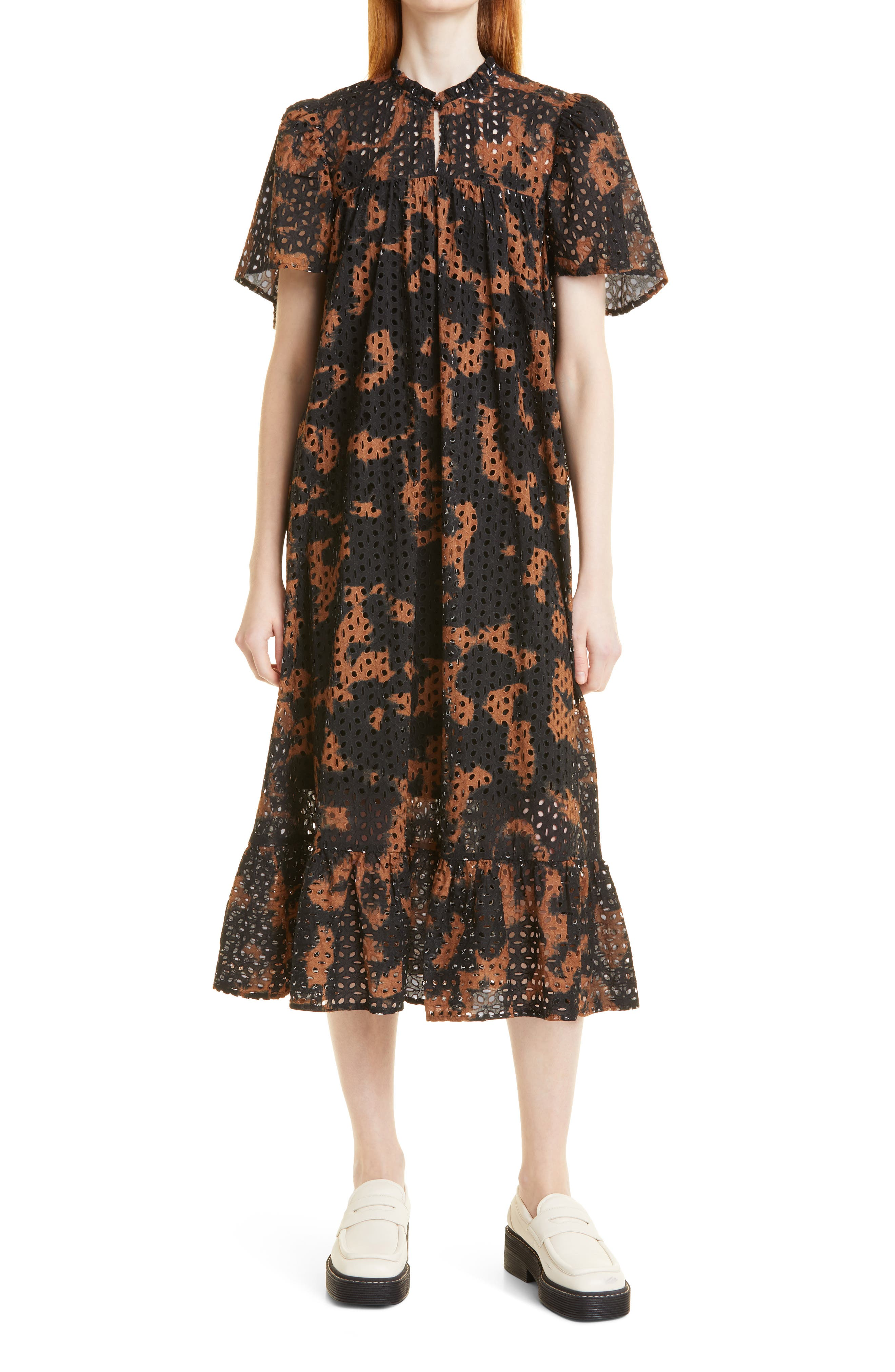 Reliz Tie Organic Cotton Eyelet Shift Midi Dress