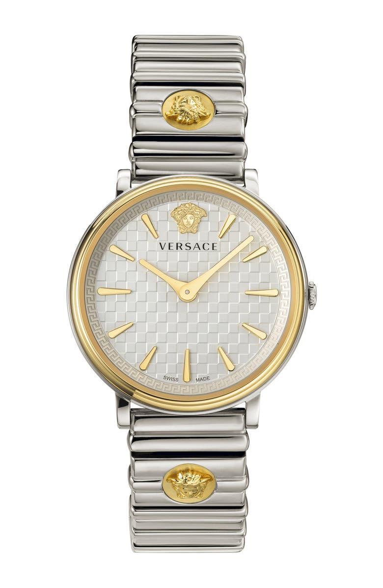 VERSACE V Circle Logo Bracelet Watch, 38mm, Main, color, SILVER/ GOLD
