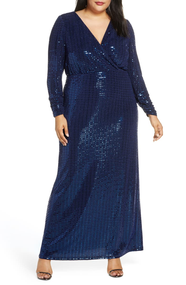 VINCE CAMUTO Long Sleeve Blouson Gown, Main, color, NAVY